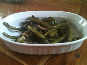 Sautéed Green Beans and Shiitake with lots of garlic!