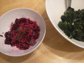 Beet and Farro Salad (left) and Massaged Kale (right)